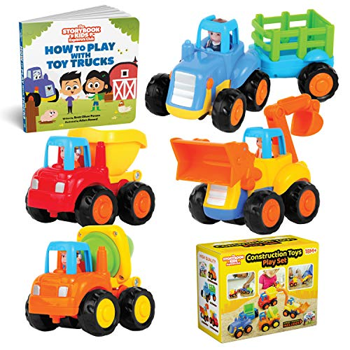Educational Play Set for Kids Age 1, 2, 3 - Push & Pull Cars for Two Year Olds - Storybook Toys for 2 Year Old Boy -Toys for 1 Year Old - Toddler Construction Friction Toy Trucks for 2 Yr Old Boys