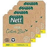 Nett Coton Bio Tampon avec Applicateur, Normal, Boite de 16 Tampons - Lot de 4