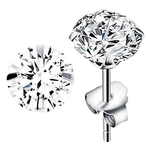 MYA art Ohrstecker 925 Sterling Silber mit einem Zirkonia Solitär Stein in Diamant Form Silberohrstecker Ohrringe Stecker Weiß Klein Rund 5mm MYASIOHR-68