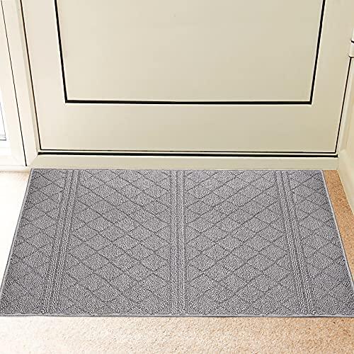 REFETONE Indoor Doormat, Front Back Door Rug Durable Rubber Backing Non Slip Door Mat Super Absorbent Resist Dirt Entrance Rug Inside Floor Mats Machine Washable Low-Profile - 20' X 32', Grey