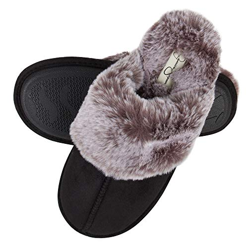 Jessica Simpson Women's Comfy Faux Fur House Slipper Scuff Memory Foam Slip on Anti-skid Sole,...