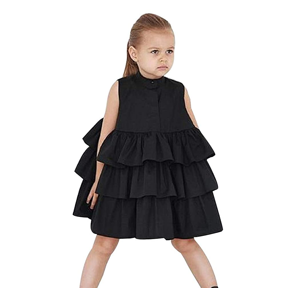 Tutu Dress for Girls Sleeveless Solid Color Princess Party Skirt Cake Ruffled Bubble Dresses