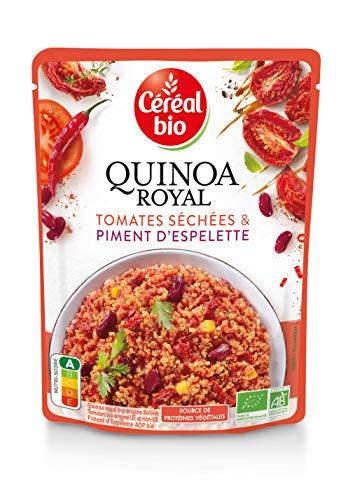 Céréal Bio Quinoa Royal, Tomates Séchées & Piment d'Espelette - Sachet Micro-ondable, Rapide à Réchauffer - Végan et Bio - 220g - 212661