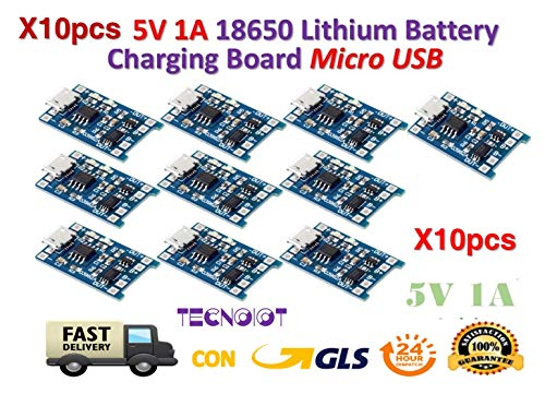 TECNOIOT 10pcs 5V 1A Micro USB 18650 Lithium Battery Charging Board Charger Module