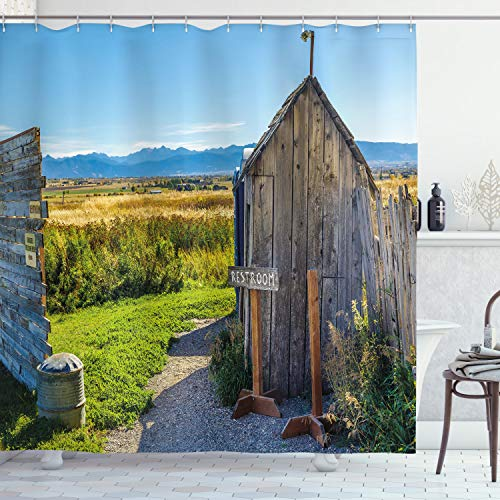 Ambesonne Outhouse Shower Curtain, Old Rustic Wooden Cottage Barn Shed in a Farm Village Image, Cloth Fabric Bathroom Decor Set with Hooks, 75' Long, Dark Grey
