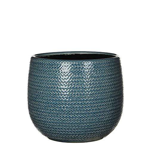 Mica Decorations Bloempot Gabriel rond blauw - 20 x Ø 25 cm - pot - plantenbak - bloembak (blauw, 20)
