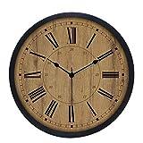 ZHAS intérieur, horloge murale Plaque muette Vintage horloge murale horloge murale décorative - Style minimaliste européen - chiffres romains - étude Chambre Salon - cadeaux d'affaires (Fleurs) 0