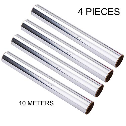 4 Pieces Baking Sheets Ultra-Thick Heavy Duty Household 10 Meters Aluminum Foil - Heavy Duty Food Safe Foil Wrap - Best Kitchen Wraps &Baking Need
