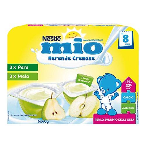 Nestlé Mio Merenda Cremosa Mela e Pera, da 8 Mesi, senza Glutine, 8 Confezioni da 6 Vasetti, 48 Vasetti
