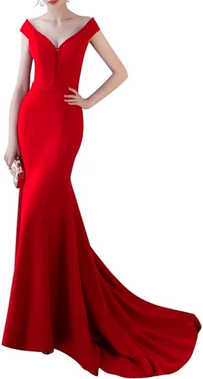 RJOAM Women's Mermaid Prom Dress Long 2018 V Neck Evening Gowns for Wedding Dress