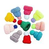 Genérico - Lote de 10 mini gorros de tejer con pompón para muñecas, sombrero, arte, artesanía, tejido, decoración, gancho, pompón, pequeños, gorras, mini gorros