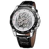 ファッションメンズレーシングスポーツ機械式腕時計 クリエイティブブラック スケルトンギアムーブメント