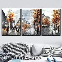 ((ウォールアート))レトロ北欧ブリティッシュストリートポスターとプリントキャンバスアート絵画ホテルレストランカフェキッチン装飾(70x105cm)3pcsフレームレス