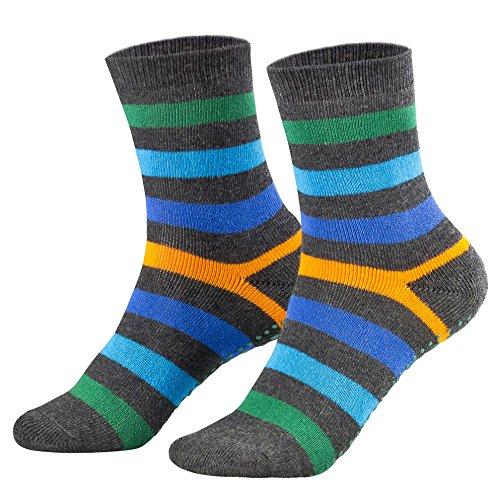 Piarini 2 Paar Kinder Stoppersocken ABS Socken Anti Rutschsocken Noppen Baumwolle Jungen Mädchen Anthrazit Gr. 27 28 29 30