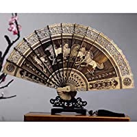 木製扇子、扇子、中空木、彫刻、金色の編み枝、香木、中国風、夏、折りたたみ、装飾工芸品、装飾品