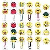 Marcadores de Libros de Emoji,Xiuyer 10 Piezas Marcapáginas de Clips de Papel Bookmarks Lindos de Emoticones para Niños Regalos de Fiesta con 20x PVC Abalorios Flatback para Hacer Manualidades
