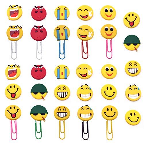 Simpatici Segnalibro Emoji,Xiuyer 10 Pezzi Segnalibri a Graffetta Divertenti Emoticon Marcatori Libri con 20x PVC Perline Slime Flatback per Bambini Feste Regalo fai-da-te Artigianali