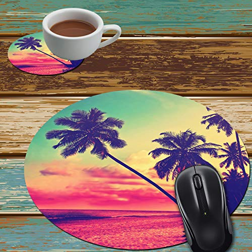 Mouse Pad and Coaster Set, Beautiful Tropical Beach Mouse Pad Round Non-Slip Rubber Mousepad Office Accessories Desk Decor Mouse Mat for Desktops Computer Laptops