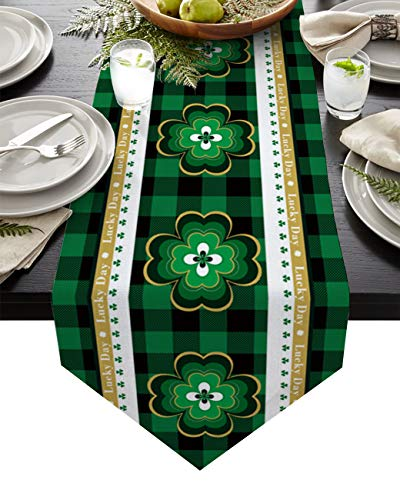 Cotton and Linen Triangle Table Runners 72 Inches Long, St. Patrick's Day Theme Retro Celtic Knots Dresser Scarves Table Decor for Wed Party/Ceremony (14x72 inch) Green and Black Buffalo Checker