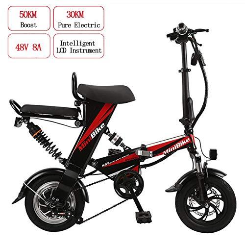 AFF Elektrische mountainbike, voor volwassenen, inklapbaar, E-bike, 48 V, 8 Ah, 350 W, mini, dubbele levensduur 30 km en maximale snelheid 25 km/h, dubbele schijfremmen, zwart