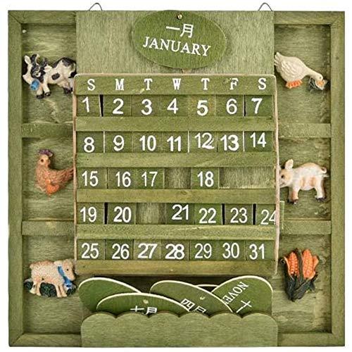 ALUYF Placa de la Muestra del Calendario Calendario de cumpleaños perpetuo Familiares Amigos Calendario de Madera Calendario de Pared Decorativo de Madera DIY para la decoración de la Pared del hogar