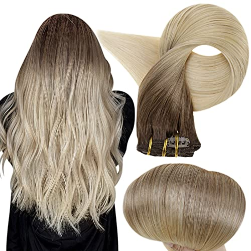 Full Shine Balayage Clip in Hair Extensions Double Weft Clip in Real Human Hair Extensions Thick 10 Pieces 100 Gram...