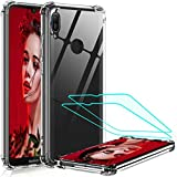 LeYi Funda Huawei Y6 2019 / Honor 8A con [2-Unidades] Cristal Vidrio Templado, Cristal Transparente Shockproof Carcasa Ultra Silicona PC y TPU Slim Gel Bumper Cover Case para Movil Y6 2019,Clear