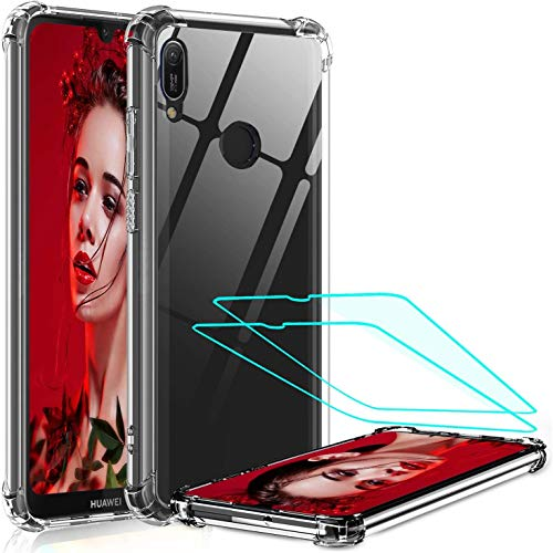 LeYi für Huawei Y6 2019/Honor 8A Hülle mit Panzerglas Schutzfolie (2 Stück), Neu Transparent Cover Hard Air Cushion Bumper Schutzhülle Handy Hüllen für Hülle Huawei Y6 2019 Handyhülle Crystal Clear