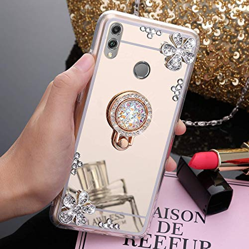 Mirroir Coque Huawei Honor 8X Transparent Liquid Crystal Premium Souple TPU Silicone 360 Support Téléphone,Paillette Strass Bling Glitter Ring Anneau Clear View Metal Plating Case,Or