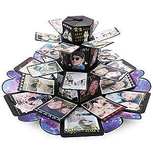 VEESUN Turm Explosionsbox Geschenkbox mit 6 Gesichtern, Kreative Überraschung Box DIY Fotoalbum, Jahrestag Geburtstags Valentine Hochzeit Personalisierte Geschenk für Frauen Freund, Schwarz, MEHRWEG