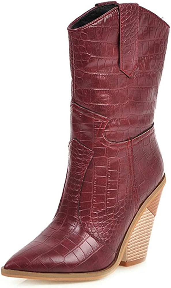 Women's Mid-Calf Boots Pointed Toe Block High Heel Pull On