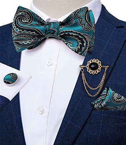 JHYS Eleganter Stil Manschette, Teal Blue Seide Selbstbinder Fliege für Männer Hochzeit Party Männer Schmetterling Fliege Einstecktuch Brosche Manschettenknöpfe Set (A, Einstellbar)