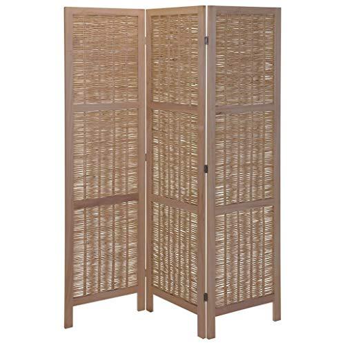 Home&Styling Holz Paravent 3-TLG. Raumteiler Trennwand Umkleide Sichtschutz Spanische Wand Raumtrenner Stellwand Weide Hellbraun 132x2x170 cm Verstellbar