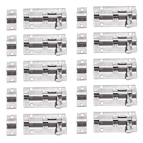 TYI 10 STKS Heavy-Duty Verdikte RVS Deur Latch Schuifslot Barrel Bolt Handig voor Deuren Kasten Kasten Houten Wickets Ramen Hekken Kennels Badkamer Slaapkamer Bar