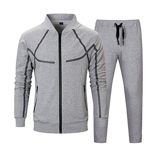 MANLUODANNI Mens Causal Tracksuit Set Full Zip Jogging Sportwear Athletic Sweat Suits with Pockets Dark Gray M