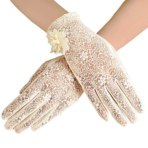ArtiDeco Damen Lace Handschuhe Satin Braut Hochzeit Spitze Handschuhe Opera Fest Party Handschuhe 1920s Handschuhe Damen Kostüm Accessoires (Kurz Blume Beige)