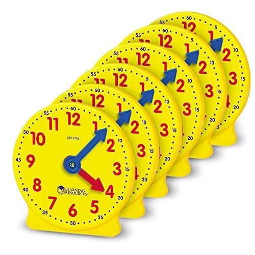 Learning Resources Lot de 6 horloges à engrenages 4 pouces