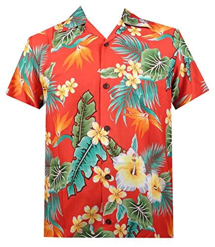 Hawaiian Shirt 46 Mens Flower Leaf Beach Aloha Party Camp Holiday Red 3XL