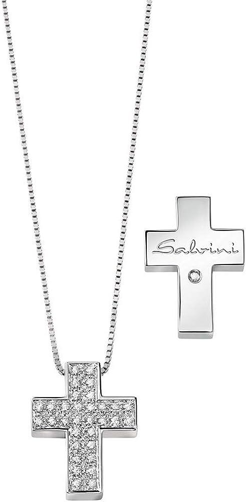 Salvini  collana con pendolo a forma di croce,in oro bianco 18 kt(7,1 gr), con pavé di diamanti naturali 0,29 20067606