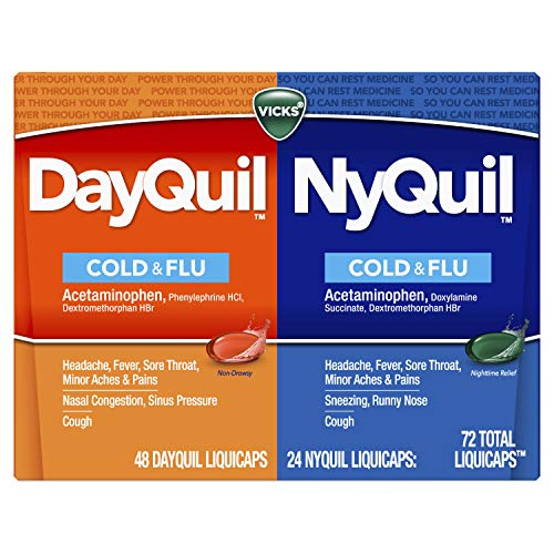 Vicks DayQuil & NyQuil LiquiCaps, Cough, Cold & Flu Relief, Sore Throat, Fever, & Congestion Relief, Day & Night Relief, 72 LiquiCaps (48 DayQuil, 24 NyQuil)