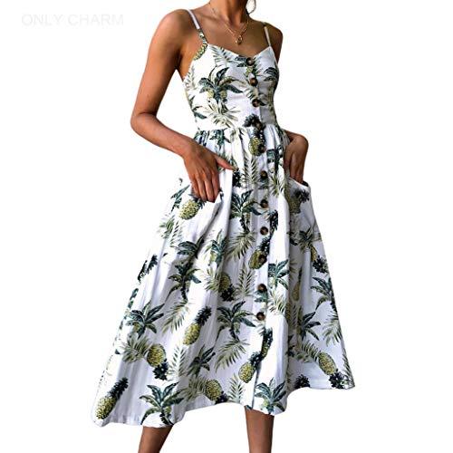 ONLY CHARM Femmes Fleurs Robe de Soirée, Bohemian sans Manches Dos Nu Imprimee Robe de Plage d'été Longue Grande Taille, Blanc,XXL