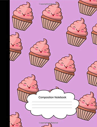 Composition Notebook: Wide Lined Happy Muffins Writing Notepad for Girls/Students/Teachers (100 Pages, 7.44x9.69) Sweet, Cute, Girly Purple Exercise Book, (Homeschool/Back To School)