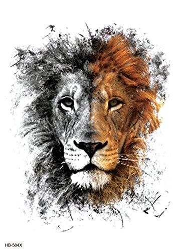 Brazo De Flor De Avatar De León Pintado 15x21cm-3Pcs Lote De Tatuajes Temporales De Moda Tatuajes A Prueba De Agua Pegatinas De Papel Y Arte Corporal Boceto Negro Realista