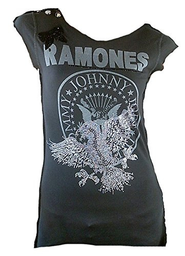 Amplified Elagantly Waisted Damen T-Shirt Grau Anthrazit Official The Ramones Hey Ho Let's Go Logo You Special Edition M