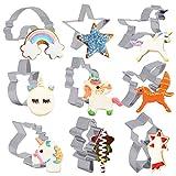 BELLE VOUS Formine Biscotti (9 Forme) - Set Stampi Biscotti in Acciaio Inox per Uso Alimentare - Stampini per Biscotti per Decorazioni, Torte, Panini - Taglia Biscotti Carnevale e Compleanno Unicorno