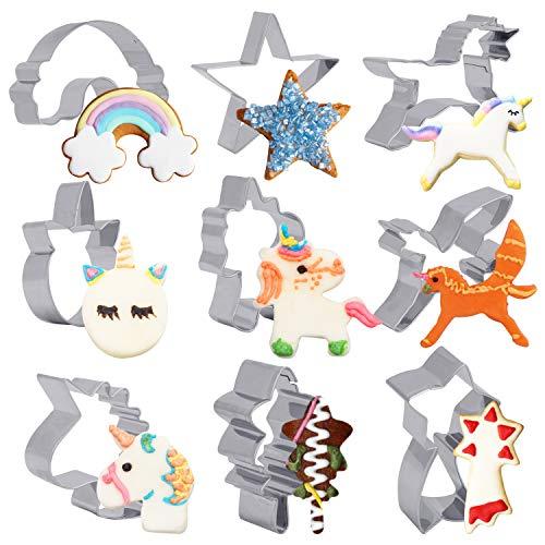 BELLE VOUS Molde Unicornio para Galletas (9 Formas) - Cortadores de Galletas Acero Inoxidable Grado Alimenticio Set Cortadores Fondant Decorar Pasteles, Sándwich, Pan para Cumpleaños Fiesta Unicornio