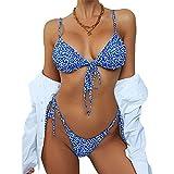 ZAFUL Ditsy Floral Frilled Tie Knot Front Strappy Bikini Sets Swimwear Blue