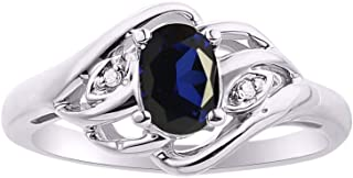 Diamond & Blue Sapphire Ring Set In Sterling Silver .925
