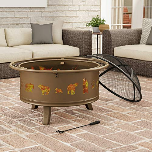 """Pure Garden 50-LG1202 Round Large Steel Bowl with Bear Cutouts, Mesh Spark Screen, Log Poker & Storage Cover 32"""" Outdoor Deep Fire Pit, Brown"""