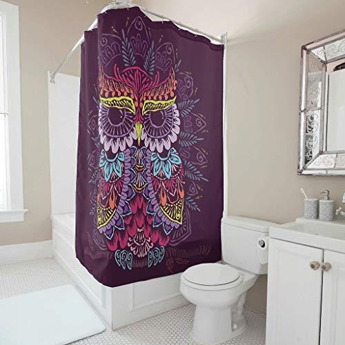 Sweet Luck Eule Mandala Duschvorhang Anti-Schimmel Wasserdicht Waschbar Stoff Vorhang Polyester Textil Shower Curtain mit Haken für Badezimmer White 91x180cm